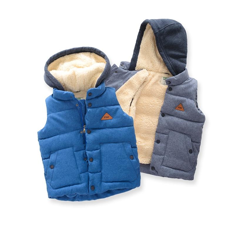 New Boys Waistcoats Hooded Windproof 2018 Autumn Winter Children Vest Warm Thick Fleece Baby Coat Infant Outerwear