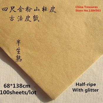68cm*138cm*100sheets,Chinese Painting Paper Rice Paper Calligraphy Writing Paper Glitter Xuan Paper Xuan Zhi ban sheng ban shu