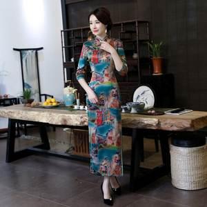 5879c57df NIUNIUSHOW High Printing Elegant Sexy Long Dress Plus Size