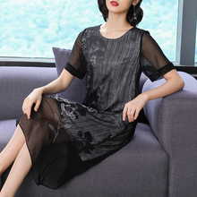 Black Flowing Silk Dress High Quality Plus Size Big for Women 2019 Summer Chinese Elegant Vintage Midi Party Night Clothing