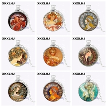 XKXLHJ Wholesale Alphonse Mucha Necklace Alphonse Mucha Pendant Glass Dome Pendant Necklace karr alphonse proverbes french edition
