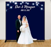 Custom Step And Repeat Navy Blue Light Wall background High quality Computer print wedding photo backdrop