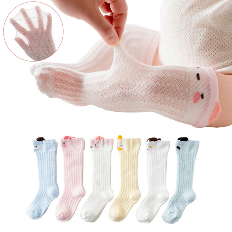 Summer Mesh Thin Cotton Cartoon Childrens Socks In The High Tube Over The Knee Baby Anti-mosquito Socks Baby Socks 0-1-3 YearsSummer Mesh Thin Cotton Cartoon Childrens Socks In The High Tube Over The Knee Baby Anti-mosquito Socks Baby Socks 0-1-3 Years