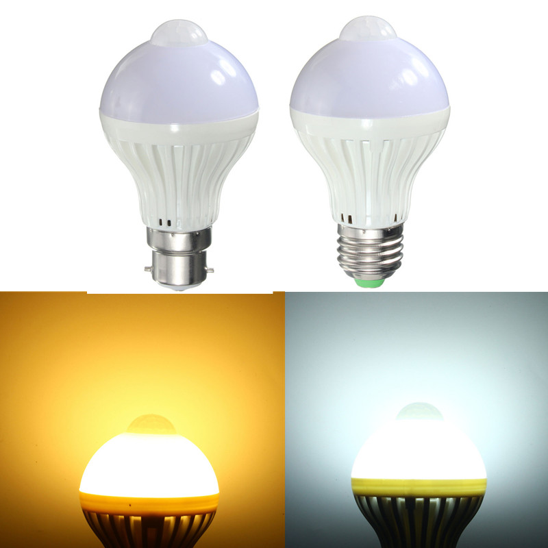 Auto PIR Motion Sensor Light E27 B22 7W AC85-265V 5730 SMD Infrared Energy Saving LED Light Bulb Pure/Warm White