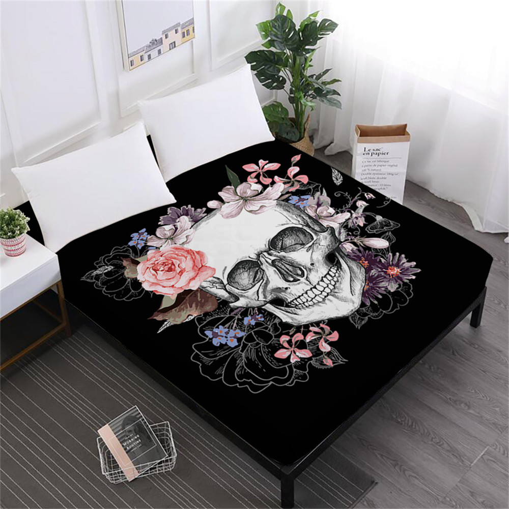 White Black Suger Skull Bed Sheet Rose Floral Print Fitted Sheet Ladies Sweet Mattress Cover Halloween Gift Home Decor D30 in Sheet from Home Garden