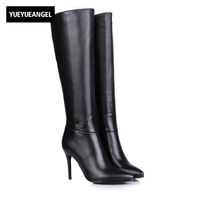 Womens Boots Platform Genuine Leather High Thin Heel Boots Pointed Toe Side Zipper Knee High Shoes Female Sexy Elegant Boots