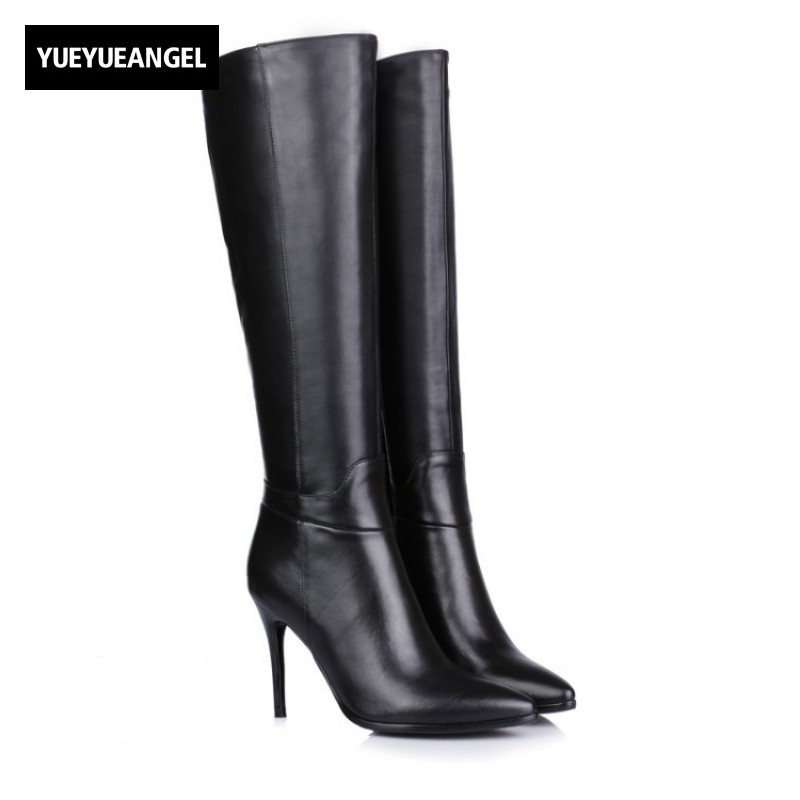 Womens Boots Platform Genuine Leather High Thin Heel Boots Pointed Toe Side Zipper Knee High Shoes Female Sexy Elegant Boots jialuowei women sexy fashion shoes lace up knee high thin high heel platform thigh high boots pointed stiletto zip leather boots