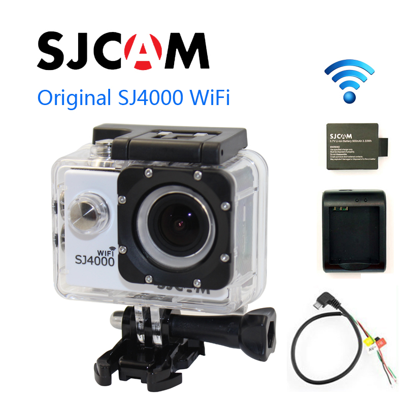 Free shipping!!Original SJCAM SJ4000 WiFi  Sport Action Camera+Extra 1pcs battery+Battery Charger+AV Output Cable free shipping original sjcam sj5000 sport action camerar car charger holder monopod extra 1pcs battery battery charge for camera