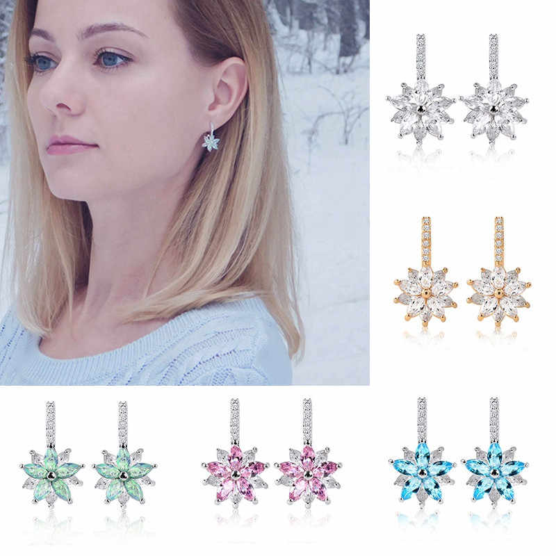 H:HYDE Summer Spring Fashion Hoop Earrings Flower Cluster Clear Crystal Zirconia Earrings For Women Female Jewelry Brincos