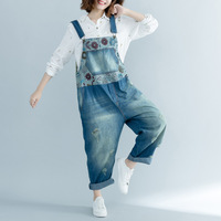 Baggy Cowboy Strap Trousers Women Printed Ripped Denim Jumpsuit hanging crotch Rompers Boyfriend Style Wide Leg Bib Denim Pants