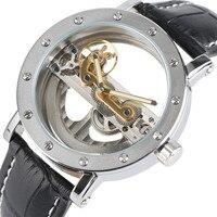 Forsining herren Uhr Top Luxus Transparenten Hohl Skeleton Automatische Mechanische Uhr Mann Uhr Männlichen Leder Band Reloj Hombre-in Mechanische Uhren aus Uhren bei