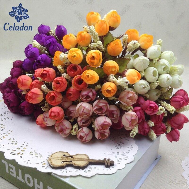 Цветные шелковые цветы, искусственные цветы с 15 головками, мини-роза для домашнего декора на свадьбу, Маленькие розы, украшение букета