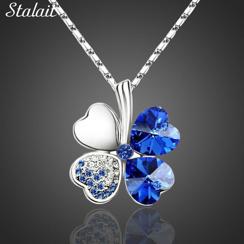 Fashion Jewelry Warna Silver Austria Kristal Kalung Empat Daun Daun Semanggi Jantung Rhinestones Pendant Kalung Perhiasan
