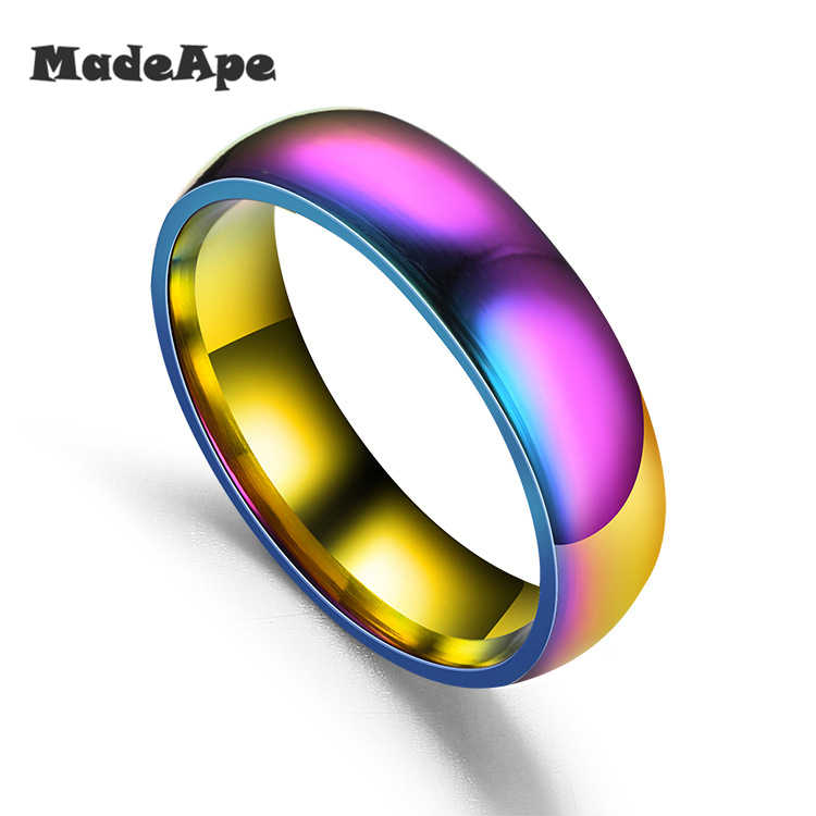 MadApe Women Rainbow Colorful Ring Titanium Stainless Steel Wedding Band Ring Width 6mm Size 5-13# For Women Men Wedding Ring