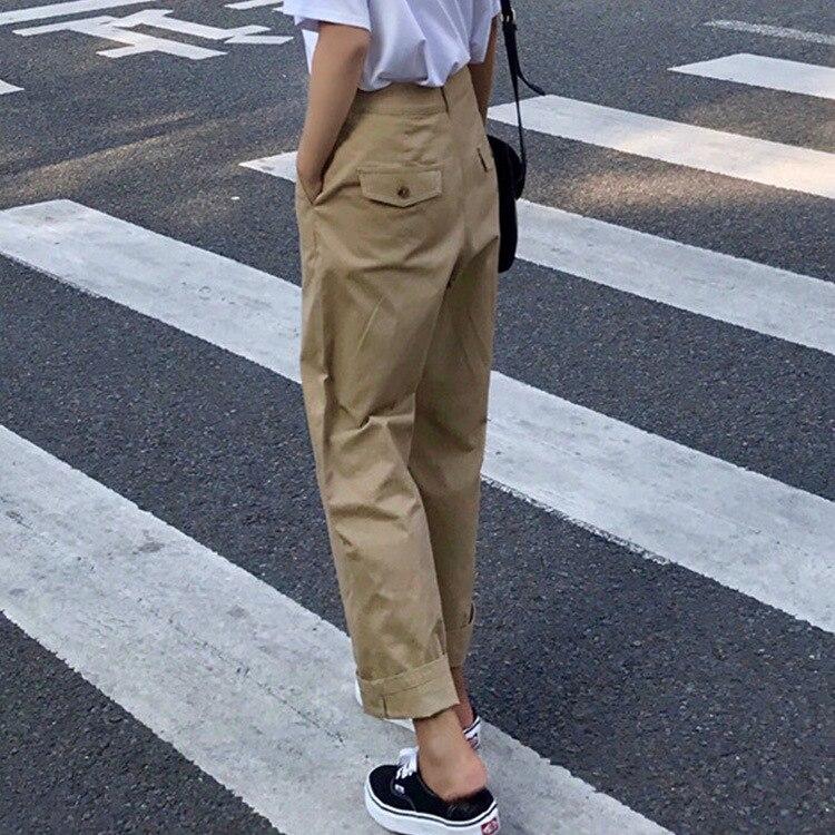 Slim De Mujeres Verano Casuales Simples Recta Cintura Alta Pantalones Caqui 2018 Nuevo nx7fqRwp76