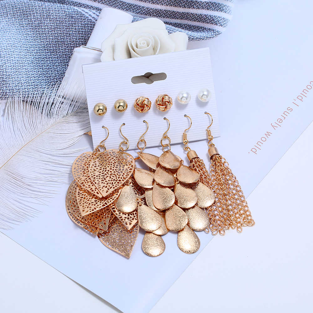 Hesiod 6 Pairs New Arrival Gold Color Leaf Tassel Dangle Earrings for Women Imitation Pearl Hollow Drop Earrings Wedding Jewelry
