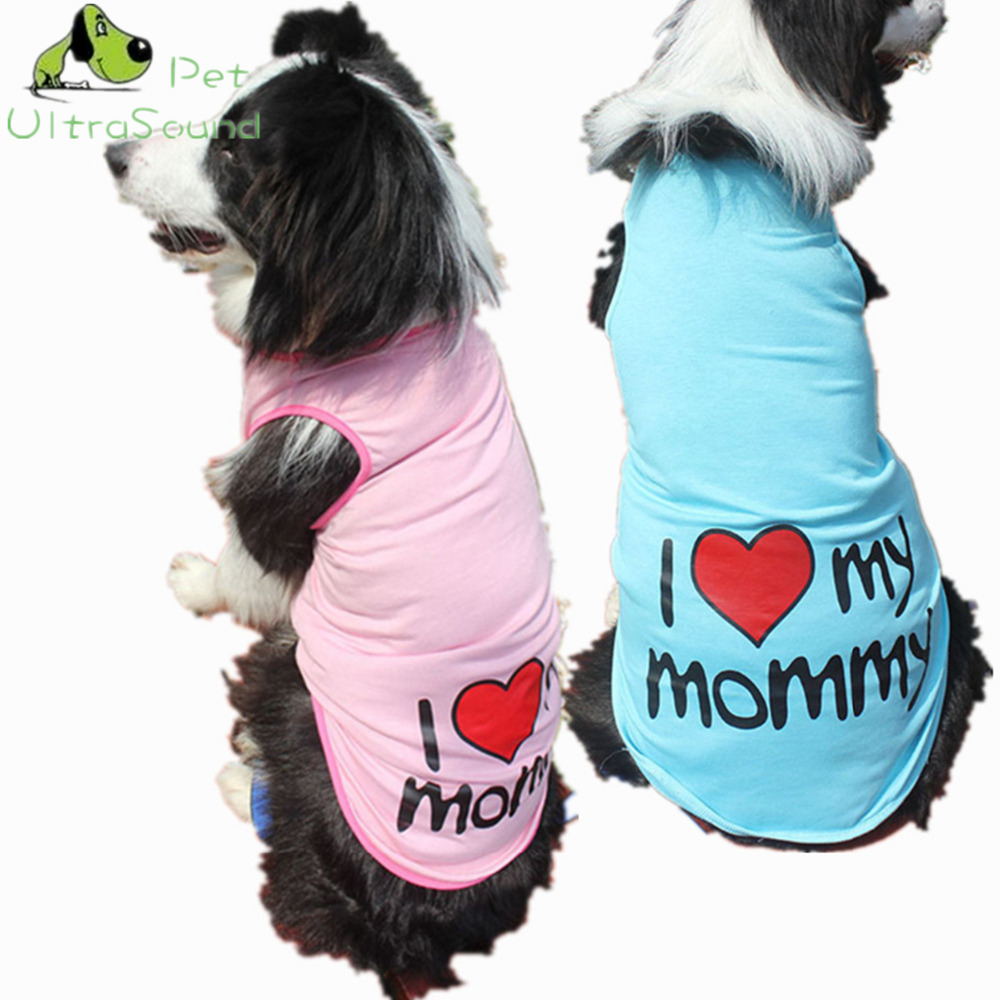 ULTRASOUND PET Dog Vests Love Dad Mom Cheap Cotton Puppy Brand T-Shirts Dog Summer Clothes For Golden Retriever Labrador 3XL-9XL