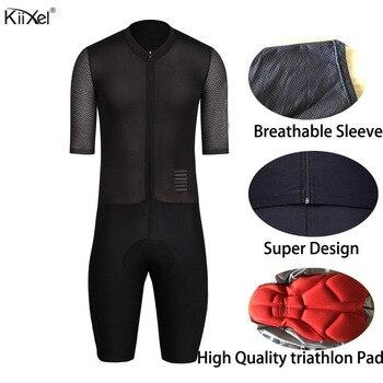 KiiXel Macacão Velocidade do Homem Trisuit Triathlon AERO Skinsuit Ropa ciclismo Maillot Pro One Piece Desgaste Triathlon Ciclismo Jerseys