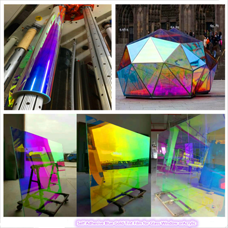 self adhesive dichroic building pet window film for glass or acrylic sheet 68cm x 1m sample by