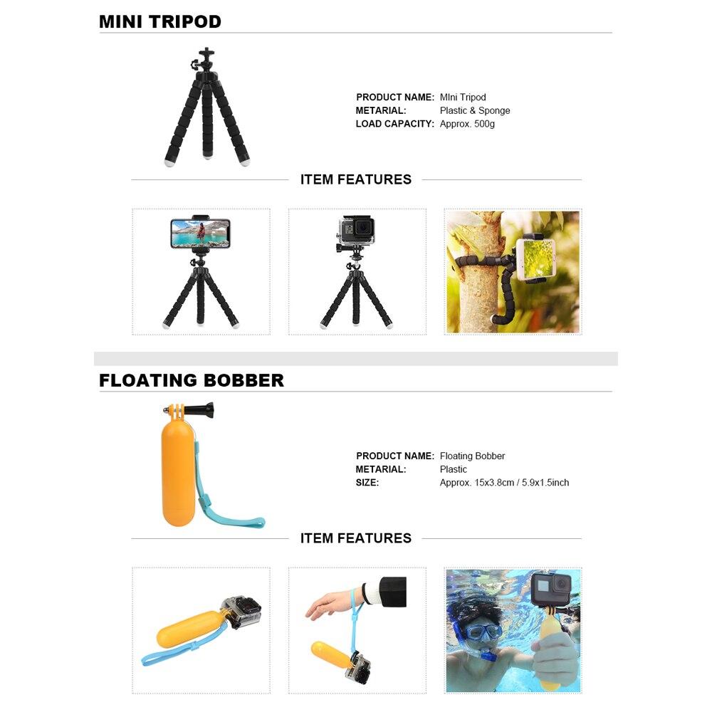 Para GoPro conjunto de accesorios para Go Pro Hero 7 6 5 4 3 kit trípode Selfie Stick adaptador de montaje para xiaomi Yi 4K Lite SJCAM SJ7 Eken H9 - 5
