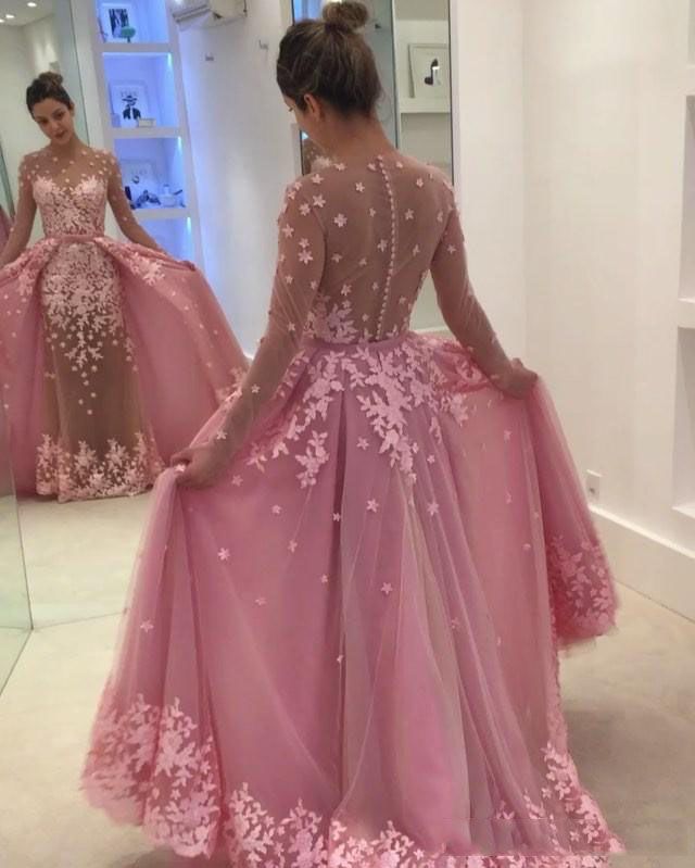 Hot Pink Long Sleeve Prom Dresses With Detachable Train Lace Applique Sheer Jewel Neck Evening Gowns