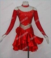 2013 New Competitive Latin Dress Crystal Stones Chacha Salsa Dance Ballroom Dress LD 0014