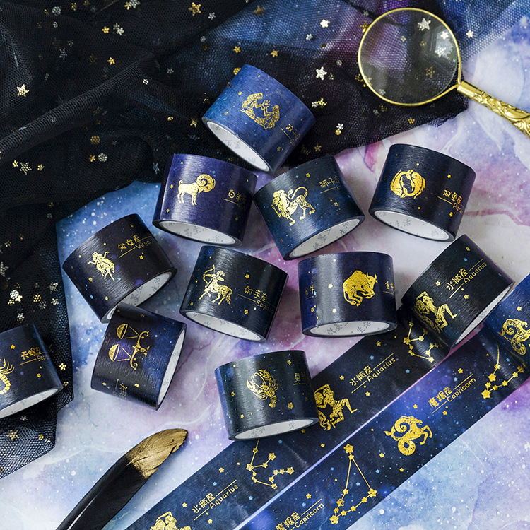 3cm*5m Twelve Constellations Gilding Washi Tape DIY Scrapbooking Sticker Label Masking Tape School Office Supply