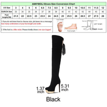 ANNYMOLI Women Boots Winter Sexy Tassel Thigh High Boots Bow Platform Extreme High Heels Over the Knee Boots Female Shoes Black
