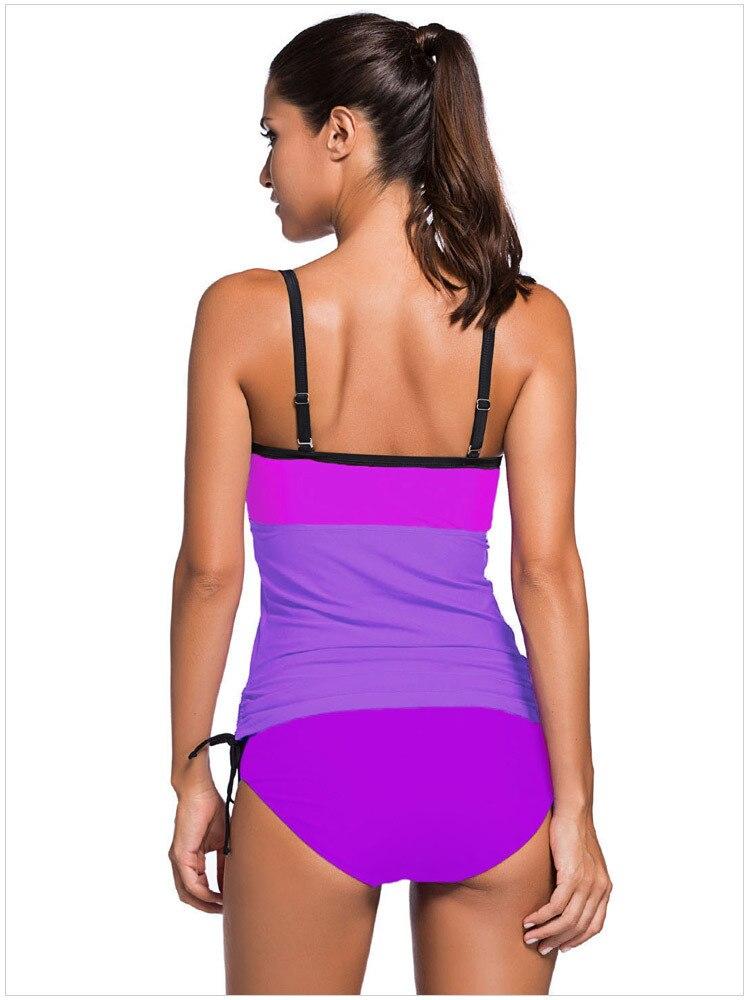 2018 Sexy Plus size Women Color Block Tankini Swimsuit Women 2pcs Swimwear Padded Bathing Suits Female Beach Wear XXL 3
