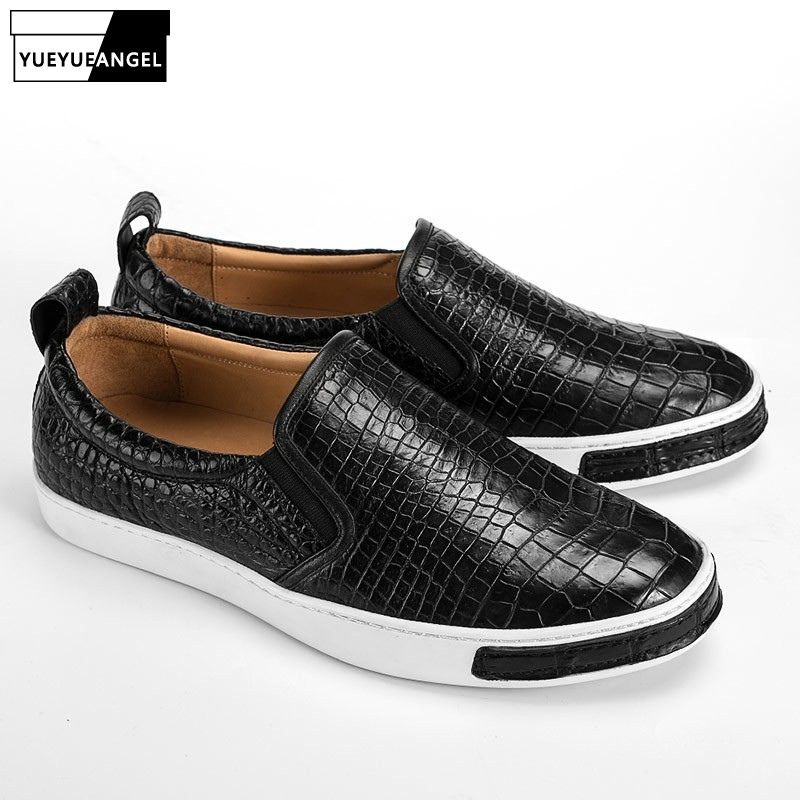 Luxury Mens Office Casual Real Crocodile Leather Shoes Low Cut Slip On Loafers Flats Moccasin Fashion Streetwear Sneakers Shoes