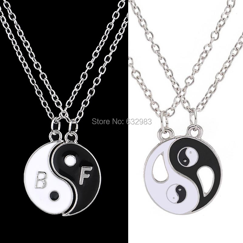 New Fashion Tibetan Silver Best Friends Necklace 2 Parts Yin Yang Necklaces & Pendants for Women Girls Cool Friendship Gifts