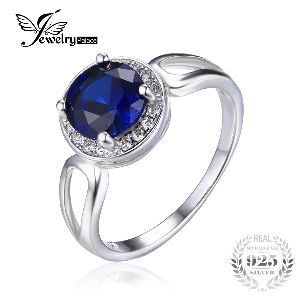 JewelryPalace Round 2.2ct Created Blue Sapphire Engagement Halo Ring Solid  925 Sterling Silver Rings For