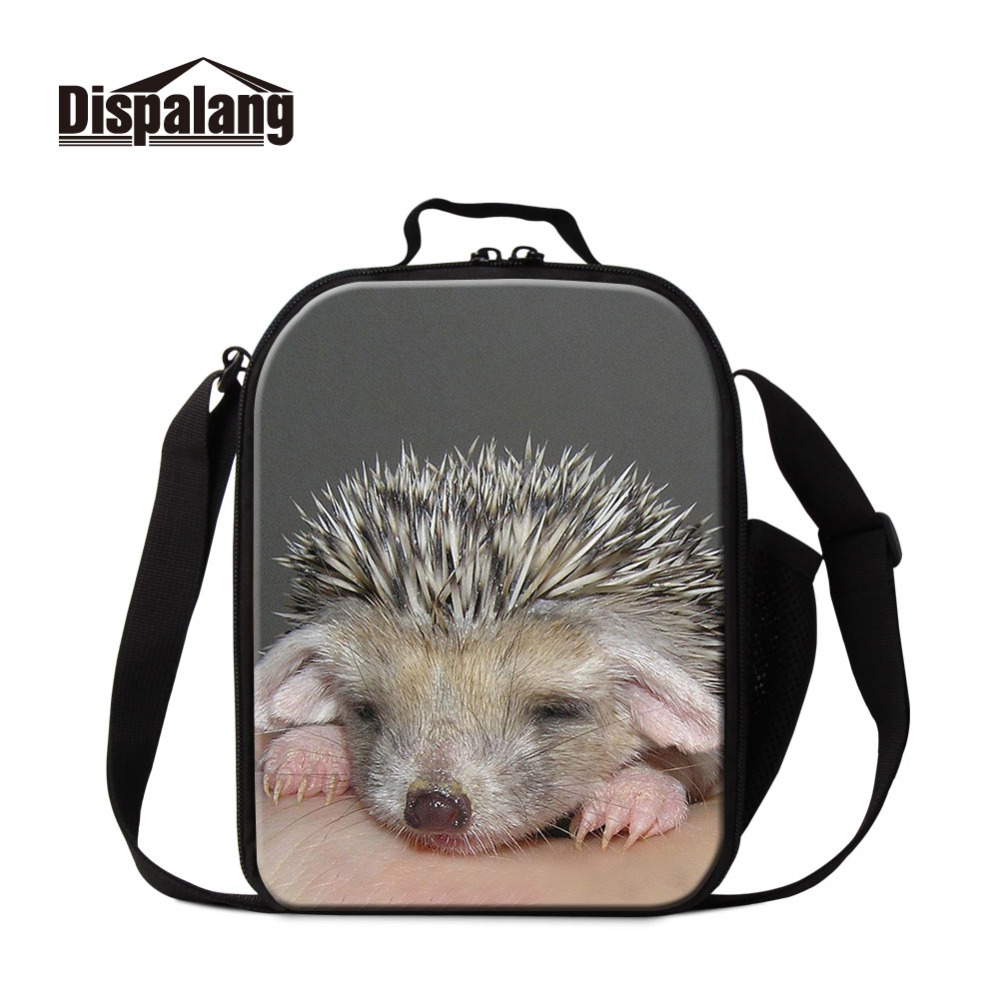 Dispalang Portable Food Picnic Packet Lunch Box Insulated Print Hedgehog Word Thermal Girls Cooler Storage Cases Bags Container
