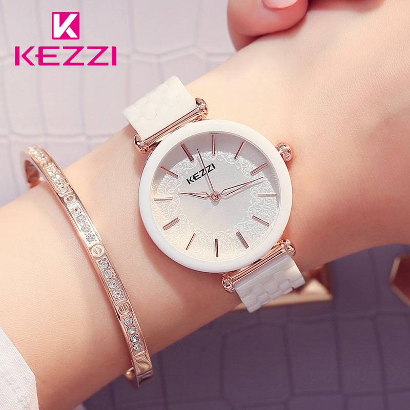 Kezzi Brand Ceramic Watches White Flower Quartz Watch Waterproof Bracelet Wristwatch For Women Clock Montres Femmes