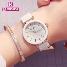 Kezzi marca relógios de cerâmica flor branca relógio de quartzo à prova dwaterproof água pulseira relógio de pulso para mulher montres femmes