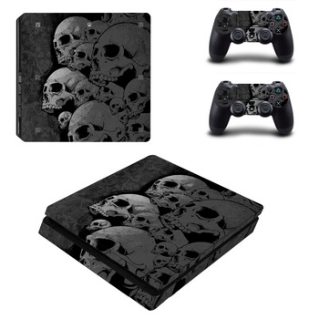 Protetive Vinyl skin For PS4 Slim Sticker For Sony Playstation 4 Slim Console+2 controller Skin Sticker For PS4 S Skin 1