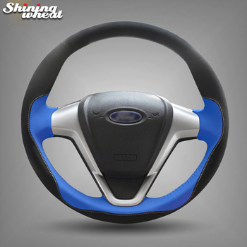 Hand Sew Blue Leather Black Suede Car Steering Wheel Cover for Ford Fiesta 2008-2013 Ecosport 2013-2016