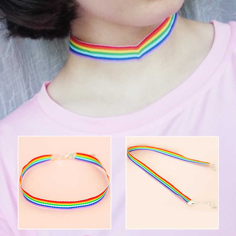 Popular Korean 1PC Wide 1cm Wide 1.5cm Simple Adjustable Nylon Candy Color Women Wedding Girls Choker Rainbow Necklace
