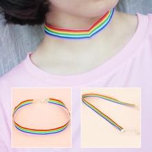 Popular Korean 1PC Wide 1cm 1.5cm Simple Adjustable Nylon Candy Color Women Wedding Girls Choker Rainbow Necklace