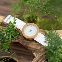 Reloj de madera y cuero pulso blanco 2