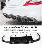 Fibra de carbono Rear Lip Spoiler Para Mercedes Benz Classe CLS W218 CLS63 CLS260 300 CLS400 2013 2017 Carro Bumper Difusor Acessórios|bumper diffuser|lip spoiler|rear lip -