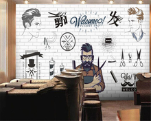Customized European 3D large creative concrete wall hand - painted mural Barber shop hair salon Background paper beibehang