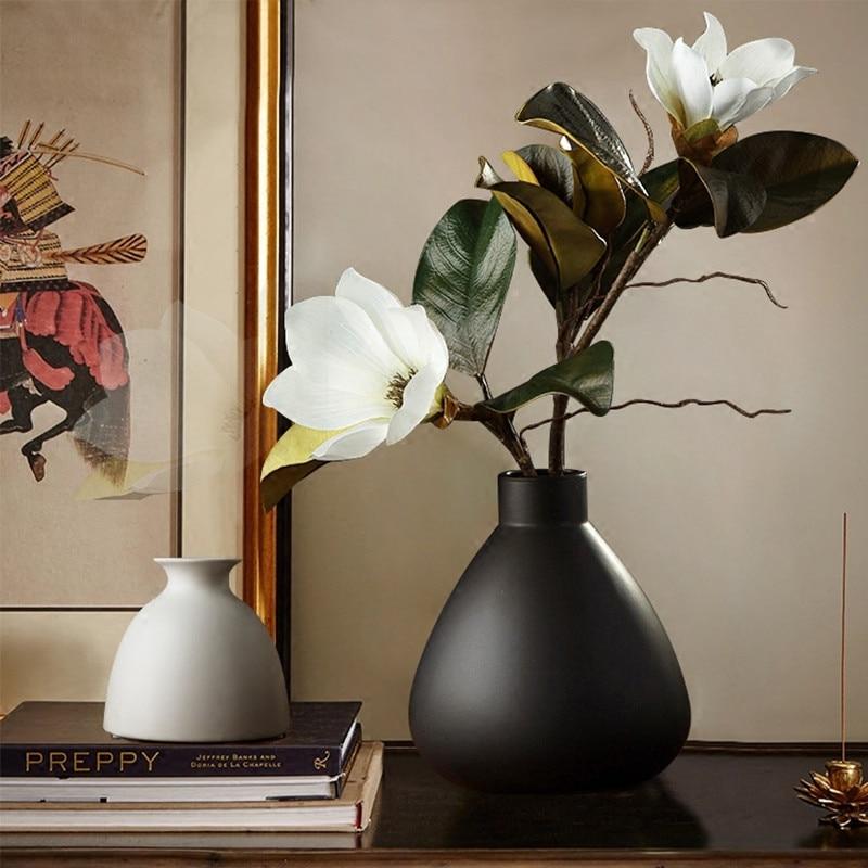 Rustic Style Ceramic Tabletop Vase Solid Black Color