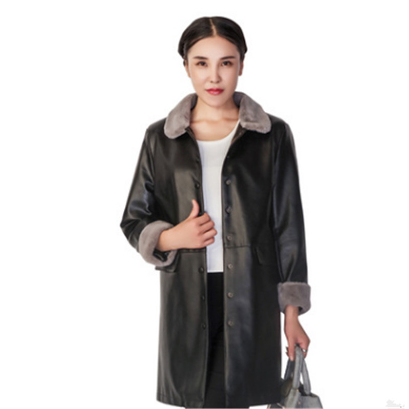 Fashion Autumn and Winter Women's   leather   long section cropped sleeves ladies windbreaker plus cotton mother PU   leather   NP3