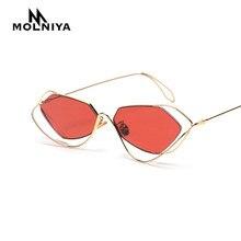 710153538a0 MOLNIYA 2018 Brand Designer Cat Eye Red Sunglasses Lady Retro Irregular  Colored Lens Lady Metal Eyeglasses Men Hollow Sunglasses