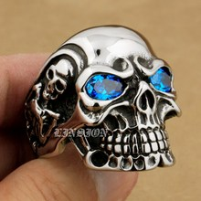 Linsion titan azul cz eyes enorme pesado acero inoxidable 316l skull mens boys anillo del motorista del punk rock 3a101 ee. uu.
