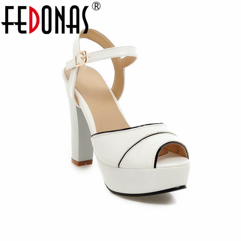 FEDONAS Women Sandals Plus Size 34-43 Fashion Ankle Strap High Heel Summer Women Pump Shoes Woman Cute Colors Elegant Sandals fedonas women sandals plus size 34 43 fashion ankle strap high heel summer women pump shoes woman cute colors elegant sandals