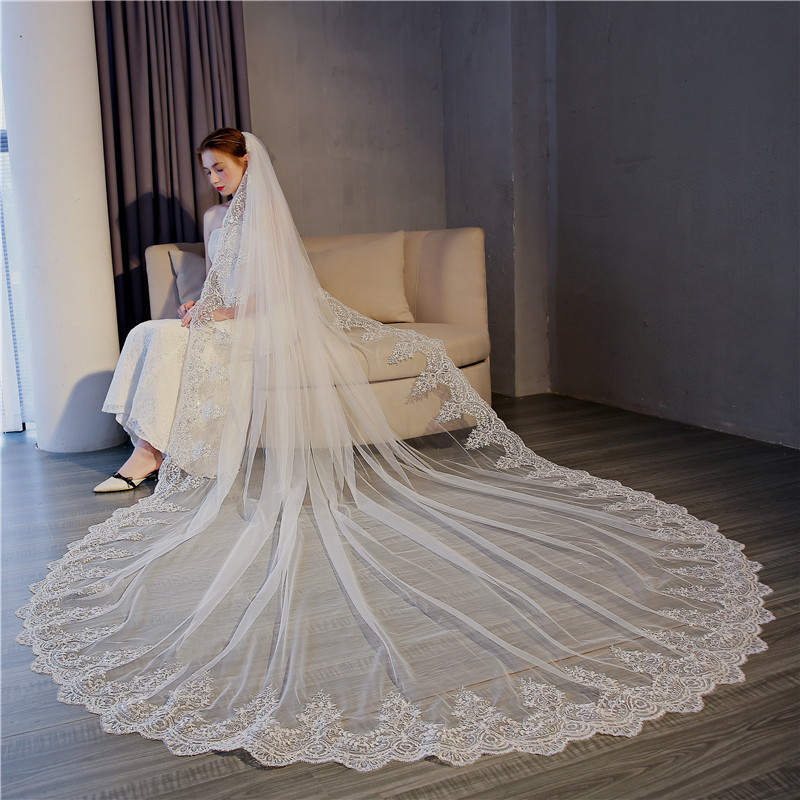 White Ivory 3 Meter Cathedral Wedding Veils Long Lace Edge Bridal Veil with Comb Wedding Accessories Bride Mantilla Wedding Veil