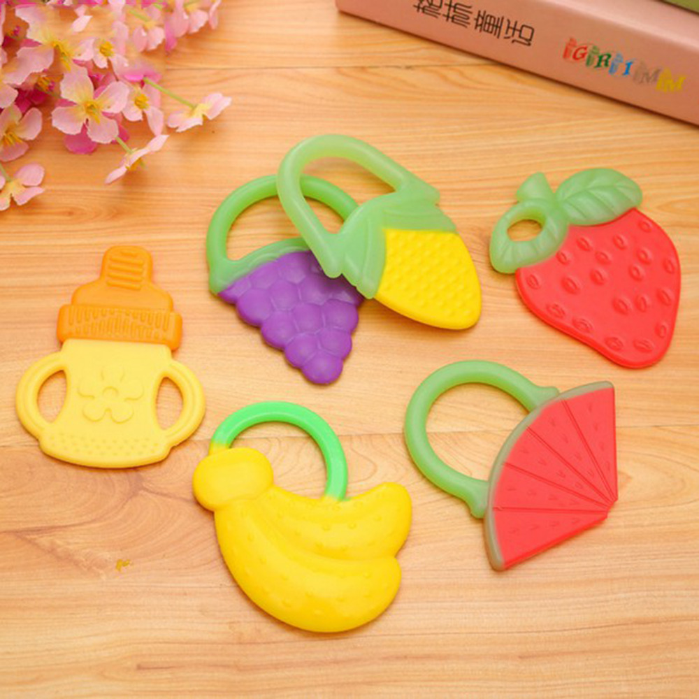 High Quality  6 Styles Safe Silicone Baby Teether Teething Fruit Silicone Toothbrush