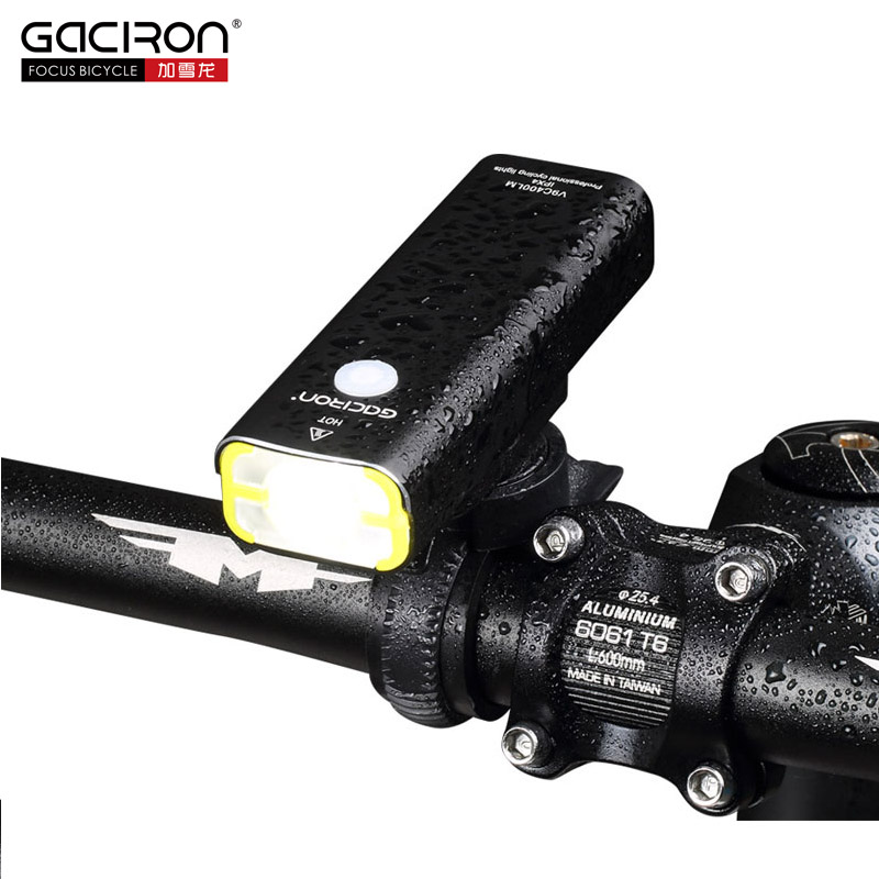 GACIRON 400Lumens Cycling Waterproof LED Light USB Rechargeable Bike Front Light Bicycle Flashlight Torch Lamp on the Handlebar gaciron professional 1600 lumens bicycle light power bank waterproof usb rechargeable bike light flashlight